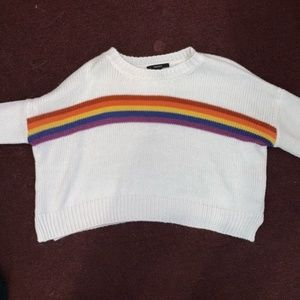 Forever 21 Rainbow Crop Top Sweater